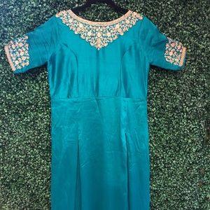 Teal blue Anarkali gown